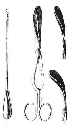 medical equipment: 1.Button to peak and curette, 2.Forceps jaw rights, 3. Curved forceps jaws, vintage engraved illustration. Usual Medicine Dictionary by Dr Labarthe - 1885.