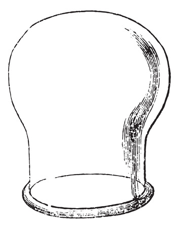 usual: Suction cup or Sucker, vintage engraved illustration. Usual Medicine Dictionary by Dr Labarthe - 1885.