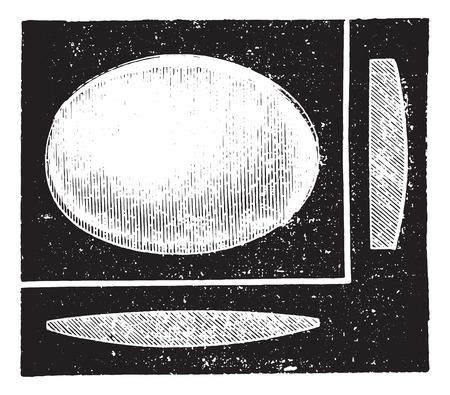 refractive: Cylindrical convex lens, vintage engraved illustration. Usual Medicine Dictionary by Dr Labarthe - 1885.