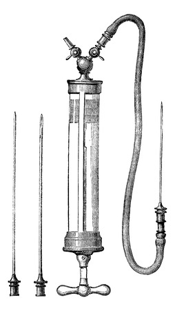 magasin pittoresque: Dieulafoy aspirator, equipped with two taps and three trocars, vintage engraved illustration. Magasin Pittoresque 1875.