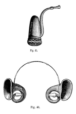 cornetta: Fico. 45. Cornet Inglese Fig 46. Conques acustico, vintage illustrazione inciso. Magasin Pittoresque 1875.