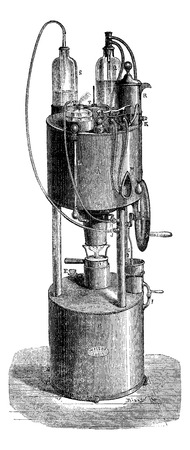 Aerotherapy portable device that can be used to breathe compressed air alone, or compressed air mixed with oxygen at will, vintage engraved illustration. Magasin Pittoresque 1875.