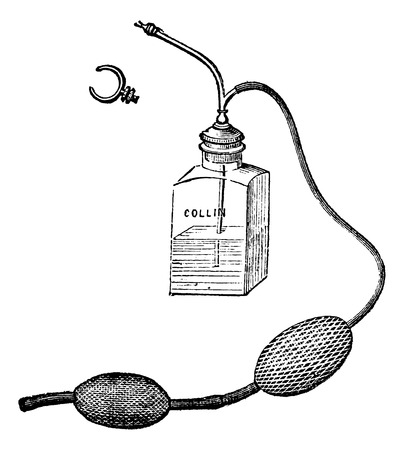 anaesthesia: Richardson device for local anesthesia, vintage engraved illustration. Magasin Pittoresque 1875. Illustration