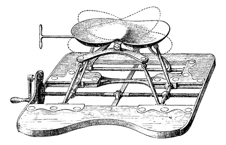 indicate: Apparatus for lithotripsy, the seat being high. Pointilles indicate the possible inclinations of the siege, vintage engraved illustration. Usual Medicine Dictionary - Paul Labarthe - 1885. Illustration