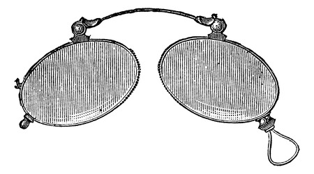 ordinary: Glasses - ordinary nose clip, vintage engraved illustration. Usual Medicine Dictionary - Paul Labarthe - 1885. Illustration