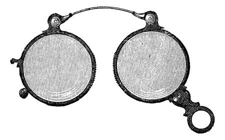 anteojos: Pinzas de nariz tiene gafas redondas, cosecha ilustraci�n grabada. Usual Diccionario Medicina - Paul Labarthe - 1885.