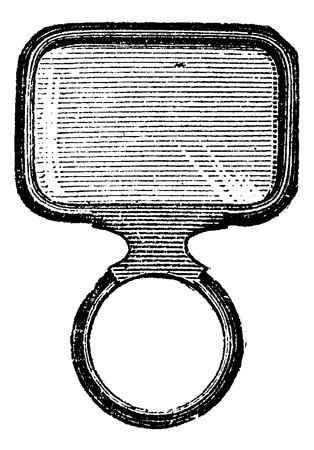 corrective lenses: Square Monocle, vintage engraved illustration. Usual Medicine Dictionary - Paul Labarthe - 1885.