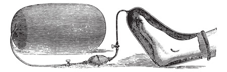 An apparatus for the application of oxygen on a limb gangrene, vintage engraved illustration. Usual Medicine Dictionary - Paul Labarthe - 1885. Illustration