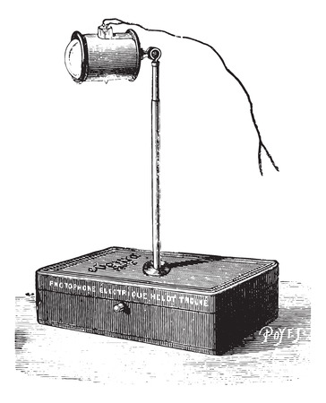 usual: Electric light on table, vintage engraved illustration. Usual Medicine Dictionary - Paul Labarthe - 1885.