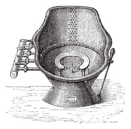 hot seat: Fig. 139. Tub bath seat has the effect of water (Walter Lecuyer system), vintage engraved illustration. Magasin Pittoresque 1875. Illustration
