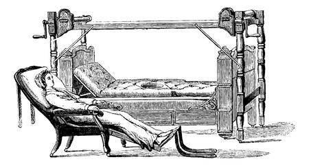 Dupont device to exit the patient out of the bed and sit in a chiar, vintage engraved illustration. Usual Medicine Dictionary - Paul Labarthe - 1885. Illustration