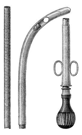 천자 프로브는 유연한 금속 척, 빈티지 새겨진 그림 갖추고 있습니다. 일반적인 의학 사전 - 폴 Labarthe - 1885.