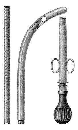 Paracentesis probe equipped with its flexible metal chuck, vintage engraved illustration. Usual Medicine Dictionary - Paul Labarthe - 1885.