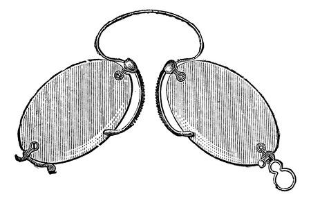 usual: Glasses - a nose clip claws (Secretan), vintage engraved illustration. Usual Medicine Dictionary - Paul Labarthe - 1885.