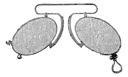 spacing: Glasses - a nose clip spacing mobile, vintage engraved illustration. Usual Medicine Dictionary - Paul Labarthe - 1885.