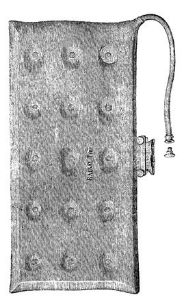 usual: Hydrostatic rubber mattress, vintage engraved illustration. Usual Medicine Dictionary - Paul Labarthe - 1885.