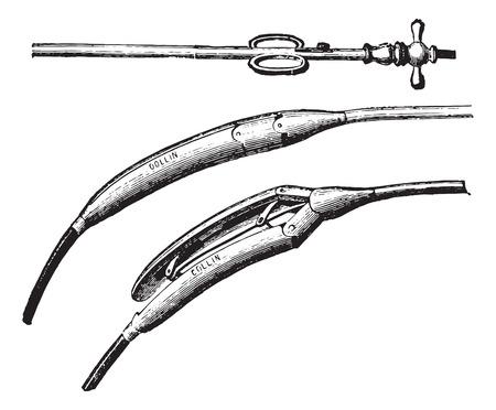 esophageal: Esophageal dilator, vintage engraved illustration. Usual Medicine Dictionary - Paul Labarthe - 1885. Illustration