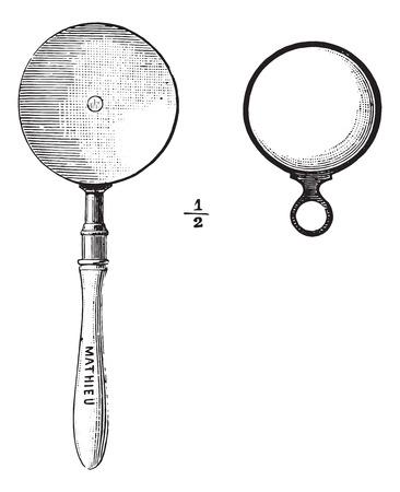 Ophthalmoscope, 빈티지 새겨진 그림입니다. 평소 의학 사전 - 폴 Labarthe - 1885.
