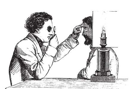 reversed: The merits of the eye, the image reversed, using a simple hand ophthalmoscope, vintage engraved illustration. Usual Medicine Dictionary - Paul Labarthe - 1885.