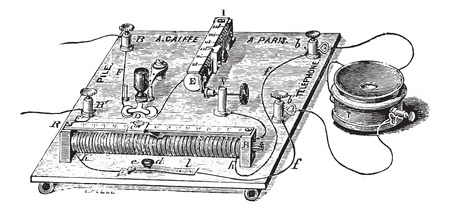auditory: Audiometer of Baratoux, search for auditory acuity, vintage engraved illustration. Usual Medicine Dictionary - Paul Labarthe - 1885. Illustration