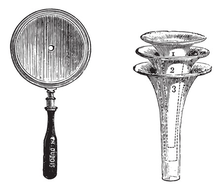 diopter: Fig. 994. Concave mirror for otoscopic examination, Fig. 995. Set of three speculums to practice otoscopy, vintage engraved illustration. Usual Medicine Dictionary - Paul Labarthe - 1885.