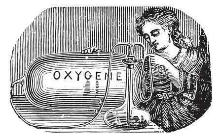 inhalacion: Dispositivo de Lemos�n para practicar uno mismo inhalaci�n de ox�geno, cosecha ilustraci�n grabada. Usual Diccionario Medicina - Paul Labarthe - 1885.