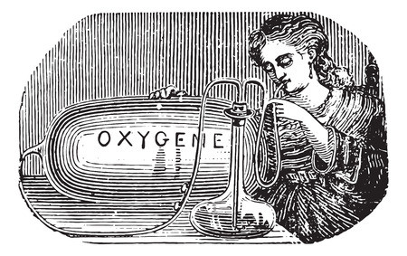 oneself: Limousin device to practice oneself inhalation of oxygen, vintage engraved illustration. Usual Medicine Dictionary - Paul Labarthe - 1885. Illustration