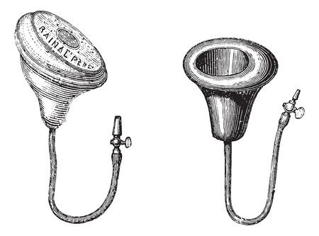 medical equipment: Pessaries has air, vintage engraved illustration. Usual Medicine Dictionary - Paul Labarthe - 1885. Illustration