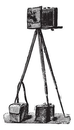Camera Derogy deployed, ready to run, vintage engraved illustration. Usual Medicine Dictionary - Paul Labarthe - 1885.