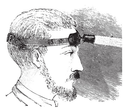 electric torch: Man with electric light attached to strap on forehead, vintage engraved illustration. Usual Medicine Dictionary - Paul Labarthe - 1885.