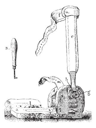 Vincent Duval apparaat voor klompvoeten, vintage gegraveerde illustratie. Usual Geneeskunde Woordenboek door Dr. Labarthe - 1885. Stock Illustratie