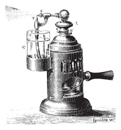 Boboeuf スプレー、操作、ヴィンテージの刻まれた図。博士 Labarthe - 1885年によって通常医学辞書。