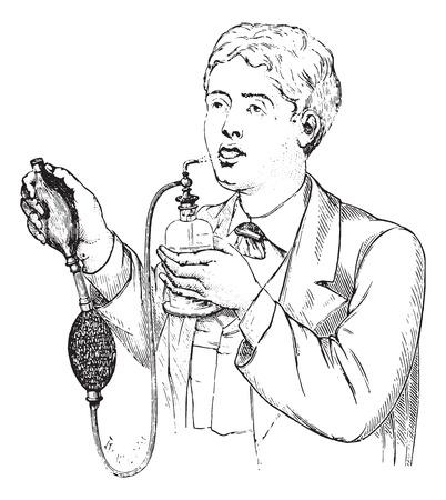スプレー ・ リチャードソン、ヴィンテージには、図が刻まれています。博士 Labarthe - 1885年によって通常医学辞書。  イラスト・ベクター素材