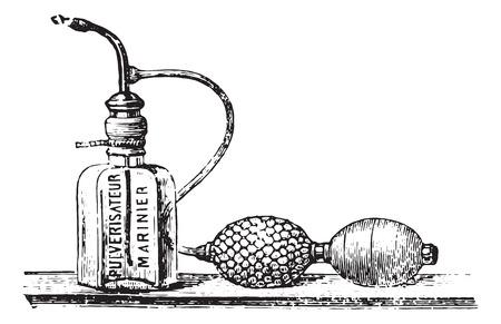 pressure bottle: Mariner spray, vintage engraved illustration. Usual Medicine Dictionary by Dr Labarthe - 1885.