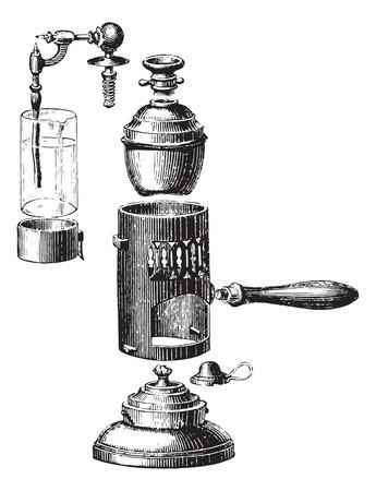 removed: Boboeuf spray, removed, vintage engraved illustration. Usual Medicine Dictionary by Dr Labarthe - 1885.