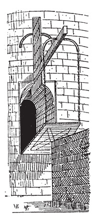 movable: Drawbridge, vintage engraved illustration. Dictionary of words  and things - Larive and Fleury - 1895.