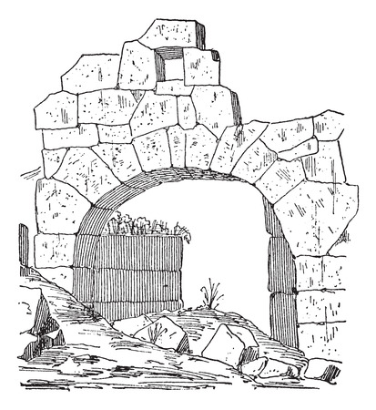 Construction of a fortification door made of stone, Masonry arch, vintage engraved illustration. Dictionary of words and things - Larive and Fleury - 1895.