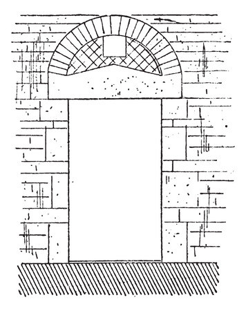 eleventh: Door, XI century, vintage engraved illustration. Dictionary of words and things - Larive and Fleury - 1895.