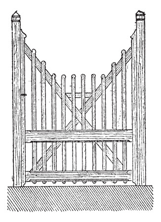 Old engraved illustration of the openwork barrier door isolated on a white background. Dictionary of words and things - Larive and Fleury ? 1895 Ilustracja