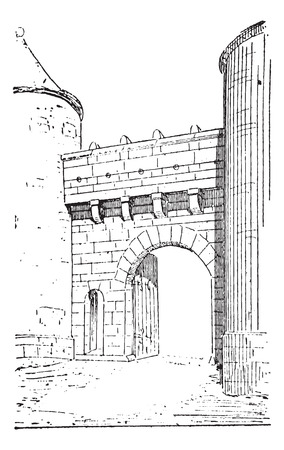 Old engraved illustration of the gate of Flavigny-sur-Ozerain, fortress belongs to the fifteenth century. Burgundy, France. Dictionary of words and things - Larive and Fleury ? 1895 Illusztráció