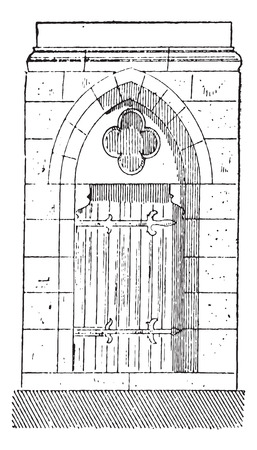 french doors: Old engraved illustration of the gate of Cathedral of Our Lady of Chartres, belongs to eighteenth century. Chartres, France. Dictionary of words and things - Larive and Fleury ? 1895