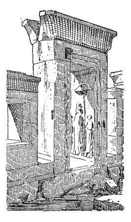 Old engraved illustration of the gate at the palace of Darius in Greece. Dictionary of words and things - Larive and Fleury ? 1895 Illustration