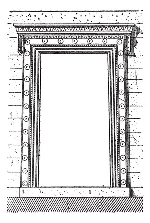 Old engraved illustration of the gate at Erechtheion in Athens, Greece. Dictionary of words and things - Larive and Fleury ? 1895