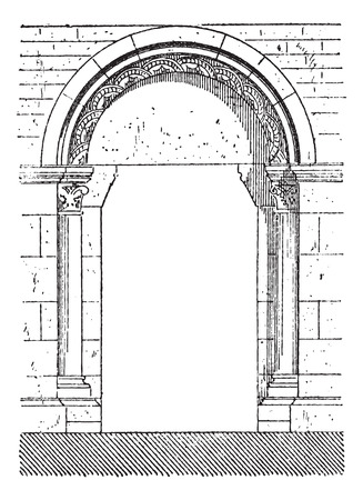 seventeenth: Old engraved illustration of the gate of Beaune which belongs to seventeenth century. Dictionary of words and things - Larive and Fleury ? 1895