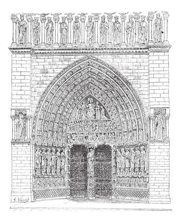 프랑스에서 노트르담 대성당의 중간에 정문의 오래 된 새겨진 된 그림. 단어와 사물의 사전 - Larive and Fleury? 1895 년 일러스트