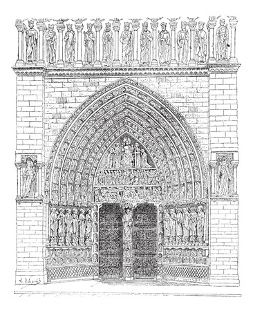 front gate: Old engraved illustration of front gate in the middle of Notre Dame Cathedral in France. Dictionary of words and things - Larive and Fleury ? 1895 Illustration