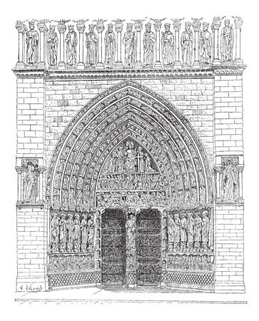 Door, Middle of the front Of Notre-Dame de Paris or Notre Dame Cathedral, vintage engraved illustration. Dictionary of words and things - Larive and Fleury - 1895. Illustration