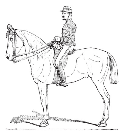 cavalier: Position of the Cavalier,  vintage engraved illustration. Dictionary of words and things - Larive and Fleury - 1895.