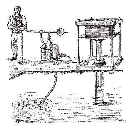 personne seule: Old grav� illustration de la presse hydraulique avec une personne travaillant avec elle. Dictionnaire des mots et des choses - Larive et Fleury? 1895 Illustration