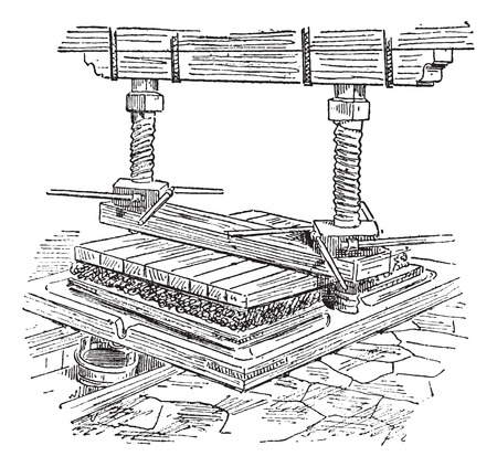 Old engraved illustration of extracting oil through hydraulic press. Dictionary of words and things - Larive and Fleury ? 1895